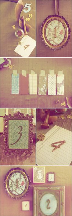 I love this idea and definitely going to use it for my wedding. Dollar stores and second hand shops here I come! Collect vintage looking frames, paper, and cut-out numbers and there you have classic table numbers for your wedding. Checkout http://www.projectwedding.com/wedding-ideas/diy-vintage-frame-table-numbers for step-by-step instructions.