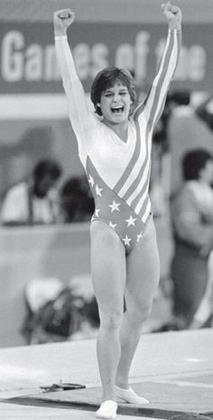 Mary Lou Retton after a perfect 10 in the vault, giving her the Olympic gold medal in the all-around in Los Angeles.