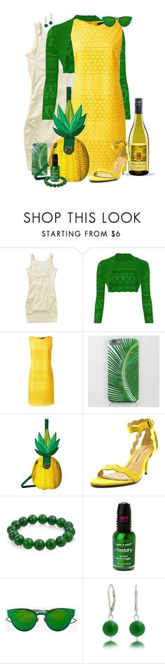 """When invited to a Pineapple Party..."" by leighanned ❤ liked on Polyvore featuring Lands' End, Betsey Johnson, Chinese Laundry, Bling Jewelry, Wet n Wild and Christian Dior"