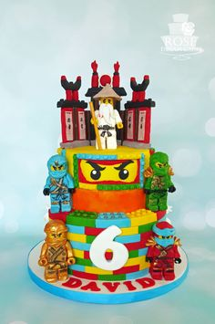 Lego Ninjago Cake by Rose Dream Cakes Ninja Birthday Cake, Ninja Cake, 6th Birthday Cakes, Ninja Birthday Parties, Girl Birthday, Lego Ninjago Cake, Ninjago Party, Superhero Cake, Bolo Lego