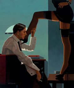 Depiction of the result of Eros. A love characterized by physical attraction. Jack Vettriano - Night Calls Night Calls by Jack Vettriano was shown at the Days of Wine and Roses. An oil on canvas measuring 24 x 20 inches Jack Vettriano, The Singing Butler, Serpieri, Hitchcock Film, Alfred Hitchcock, Fabian Perez, Edward Hopper, Robert Mcginnis, Boris Vallejo
