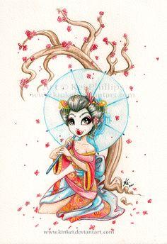 Watercolour Geisha by *kinkei on deviantART