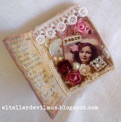 Mixed media Altered matchbox  Lovely little book door TeacupAndRoses, $10.00