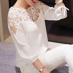 White Lace Splicing Elastic Waist Chiffon Blouse - Luxe Fashion New Trends Modest Fashion, Fashion Dresses, Fashion Blouses, Mode Simple, Mode Glamour, Mode Top, Lace Tops, Lace Blouses, Dress Patterns