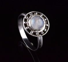 NATURAL RAINBOW MOONSTONE GEMSTONE HANDMADE RING SIZE US 8 925 STERLING SILVER  #Unbranded