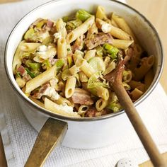 Cheesy Leek & Bacon Pasta Recipe Main Course with olive oil, leeks, smoked streaky bacon, pasta shapes, herb cheese