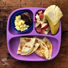 Toddler breakfast: - scrambled egg & sausage patty - apple cubes & banana - French toast tortillas  The tortillas turned out to be a fun choice. The kids loved them.  Treat flour tortillas just as you would French toast. Sprinkle with cinnamon sugar while still warm!  #foodisfun #breakfast #toddlers #toddlerfood #toddlermeals #kidfood #tortillas #frenchtoast #healthykids #replaymeals #replayrecycled #replayrecipes @replayrecycled #instagood #instafood #buzzfeedfood #f52grams #feedfeed
