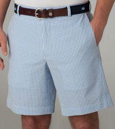 Seersucker Shorts- Gingham  True Blue