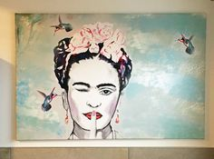 Wanddeko -  Leinwanddruck Frida Kahlo Kolibri - ein Designerstück von Art-istique bei DaWanda