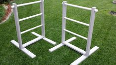 "Hillbilly Gold / Ladder Golf. Set of 2. Bollas not included. Made of 2x4 pine and 1"" PVC pipe rungs. Stand 40"" tall and 24"" wide. Painted or stained to order."