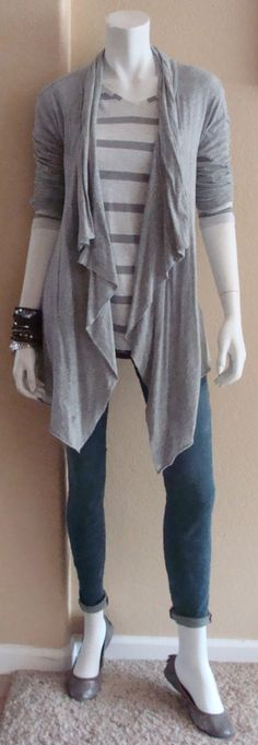 Daily Look: CAbi Fall '14 Striped Shirt and Heritage Wash Skinny Jean w Tee Shirt Topper & flats.