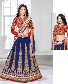 Blue   Marvelous Embroidered Georgette Indian Wedding lehenga Choli Online       Fabric:   Georgette       Work:   Embroidered       Type:   Indian Wedding   lehenga Choli Online       Color:   Blue                   Fabric Blouse   Silk       Colo