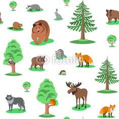 Materiał do szycia Cute forest animals seamless background pattern. Vector cartoon illustration. Wild zoo mammals with green trees on white backdrop. Kids wallpaper, wrapping paper, textile print, book cover design. Zobacz materiały do szycia drukowane na zamówienie autora vectorikart. Zamów bawełniany materiał do szycia z wzorem w tło, wzór, bezszwowe, ozdobny, tkanina, drukuj, włókienniczych, wystrój, zawijanie, powtarzać, okładka, papier, tapeta, zwierzę, las, ilustracja, niedźwiedź, lis…
