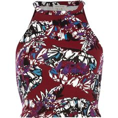 River Island Dark red fern print racer front crop top ($14) ❤ liked on Polyvore featuring tops, crop tops, river island, tank tops, red, sale, women, high neck tank, high neck crop tank and print top