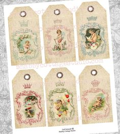 Cherubs and Crowns INSTANT DOWNLOAD Digital by shabbycottagestudio, $2.00