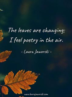 Inspirational quotes, poetry, and children's books by author-artist Laura Jaworski. September Quotes Autumn, Hello September Quotes, October, Forest Quotes, Leaf Quotes, Leaves Changing Color, Fall Words, Season Quotes, Fall Quotes