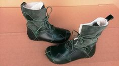 Green Leather Boots Leather Booties Green Boots Winter von BIOWORLD  and you can have vegan versions as well!!! how great is that!!!