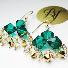 Crystal Emerald Gold Chandelier Earrings.  Emerald Crystal and Gold Earrings.  St. Patrick's Day Earrings.  St. Patrick's Day.. $37.00, via Etsy.