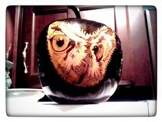 Apple gourd in black with owl face.