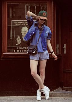 denim jacket, vintage. shirt, Zara. shorts, Witchery. sunglasses, Ray Bans. shoes, Ash. hat, Icon Brand. bag, Alexander Wang. watch, TW Steel. cuff, Tiffany.