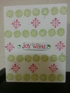 I made this card with a scrapbook sticker, stamps, and sticker embellishments  #christmas #stamp #joy #red #green #holidays #merry #diy #card #handmade #simple #onabudget #budgetfriendly