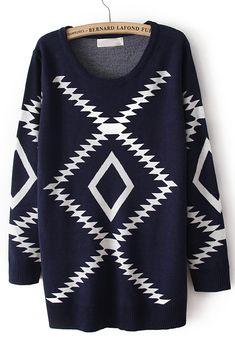 Navy Long Sleeve Geometric Pattern Pullover Sweater - Sheinside.com