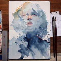 Art sketchbook, watercolor face, watercolor sketch, watercolor portraits, w Watercolor Face, Watercolor Art Paintings, Watercolor Sketch, Watercolor Portraits, Watercolor Portrait Tutorial, Watercolor Galaxy, Watercolor Ideas, Art And Illustration, Watercolor Illustration