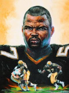 A portrait of Saints Linebacker Rickey Jackson by New Orleans artist Bob Graham