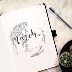 Bullet journal monthly cover page, March cover page, plant drawing, lake drawing, hand lettering. | @bujoalice
