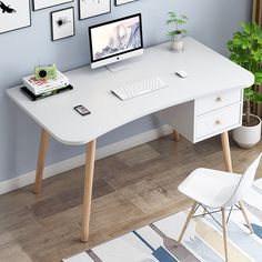 Small Computer Table Laptop Home Office Desk Study Table Modern European Style Office Computer Desk, Office Table, Home Office Desks, Office Furniture, Small Computer, Small Furniture, Bedroom Furniture, Study Table Designs, Study Room Design