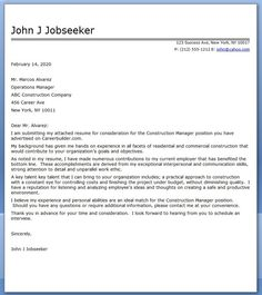 this free construction manager cover letter sample can be used in your job search to secure more interviews - Construction Management Cover Letter Examples