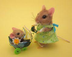*NEEDLE FELTED ART ~ by: Robin Joy Andreae: Mindy & Binkie on eBay now