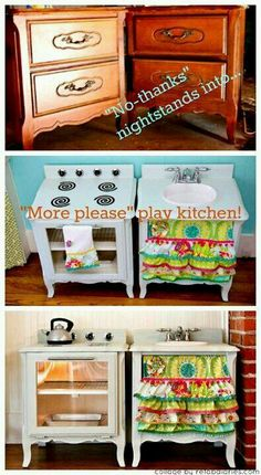 So creative! Convert that old nightstand into a fun kitchen play set.