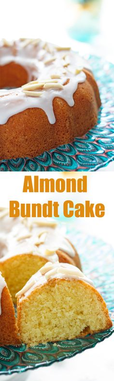 Almond Bundt Cake - Moist and cakey Bundt cake recipe made with almond flour and drizzled with icing. Very easy to make bundt cake is perfect for Easter or any other holiday! by ilonaspassion.com I @ilonaspassion