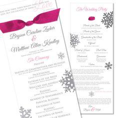 Winter Ribbon Program - Unique Wedding Program by The Green Kangaroo