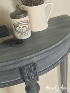 Furniture Upcycled Annie Sloan Paris Grey wash over Graphite on accent table by Hazel Mae Home How A Painted Bedroom Furniture, Chalk Paint Furniture, Refurbished Furniture, Repurposed Furniture, Furniture Projects, Furniture Makeover, Diy Furniture, Furniture Design, Modern Furniture