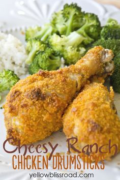 Cheesy Ranch Chicken Drumsticks - Just two additional ingredients made this chicken recipe a sure kid pleaser! (Note: remove skin and add s&p to the ranch) Chicken Drumstick Recipes, Easy Chicken Recipes, Chicken Meals, Boneless Chicken, Parmesan Crusted Chicken, Baked Chicken, Cheesy Chicken, Roasted Chicken, Chicken Drumsticks