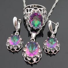 Enorme Multicolor Regenboog Gecreëerd Topaz Zilveren Kleur Sieraden Sets Voor Vrouwen Oorbellen/Ketting/Hanger/Ring Gratis Gift doos