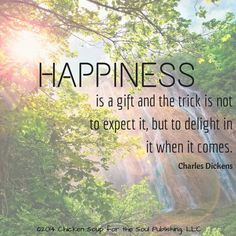 """""""Happiness is a gift and the trick is not to expect it, but to delight in it when it comes."""" ~Charles Dickens"""