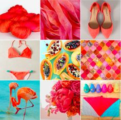 MoodBoard Monday - Papaya by Tanis Fiber Arts Textures Patterns, Color Patterns, Color Combos, Color Schemes, Tanis Fiber Arts, Different Shades Of Pink, Color Me Beautiful, Color Inspiration, Inspiration Boards