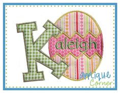 Easter Egg Alphabet letters A-Z digital design for embroidery machine by Applique Corner