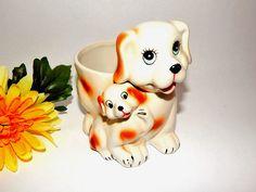 Dog and Puppy Planter Spaniel Mother Baby Ceramic Dish Vintage Retro Decor