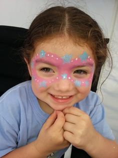 Pink mask with blue stars and white dots - Easy girly mask