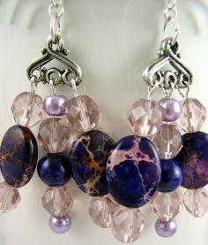 On sale, save 15%!!! Purple Imperial Jasper Fossil Gemstone Chandelier Earrings Handmade
