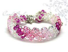 Swarovski Crystal Bracelet, Pinkish Crystal Bracelet by CandyBead via Etsy
