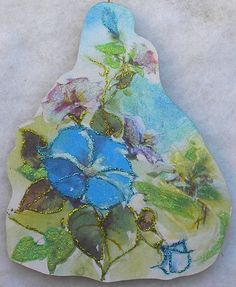 Morning Glory A New Day Vtg Easter Greeting Card Glittered Wood Ornament