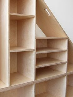 Triangle Compartment Shelf Baltic Birch Plywood For a private residence Under Stairs Cupboard Storage, Shelves Under Stairs, Under Stairs Pantry, Stair Shelves, Cool Shelves, Stairs In Kitchen, Staircase Storage, Closet Shelves, Stair Storage