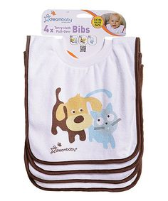 Look what I found on #zulily! Dreambaby White Pet Friends Pull-Over Bib - Set of Four by Dreambaby #zulilyfinds