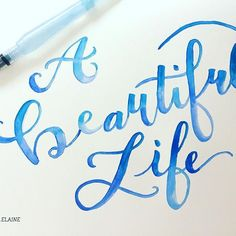 100 Days of Lettering: Day 35, 'a beautiful life.' Life is made up of beautiful things...family, friends, pets, art. What makes your life beautiful?? . Tool: waterbrush and watercolor . . #typeosketch #typography #watercolor #waterbrush #lettering #brushlettering #ombre #abeautifullife #art #design #beautiful #life #atlantaartist #100dayproject #the100dayproject