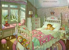"""My Goodnight Book"" by Eloise Wilkin, I stared at this picture for hours as a child.looking at it now I can actually remember every little detail. I was obsessed with pictures as a kid! Vintage Pictures, Cute Pictures, Little Golden Books, Vintage Children's Books, Children's Book Illustration, Book Illustrations, Good Night, Childrens Books, Book Art"